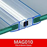 Magnetic <span class='highlight'>Shower</span> Seals | Sold in Pairs | Fits 4-6mm Glass | 180° Magnet for Straight or Quadrant Doors | 2 Metres Long | MAG010