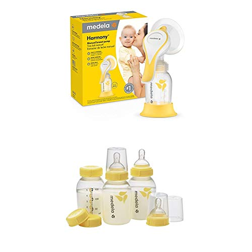 Medela Harmony Manual Breast Pump with Flex Breast Shield and Extra Breast Milk Storage Bottles, Portable Single Hand Breastpump, 3 Pack of 5 Ounce Breastfeeding Bottles, Nipples, Lids, Collars, Caps