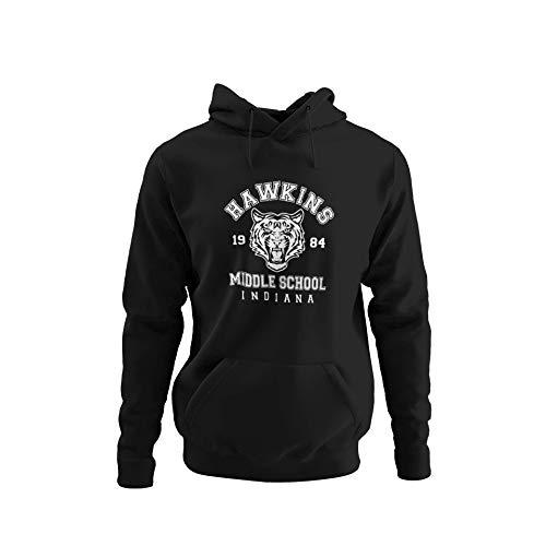 BlackSweatshirt Hawkins Middle School Indiana Stranger Things Sudadera con Capucha XL STR16