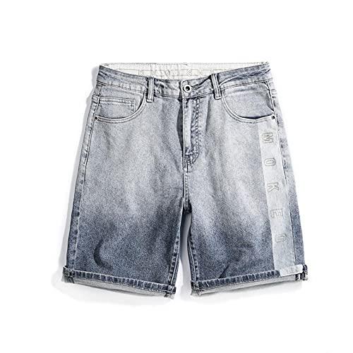 HSDFKD Pantalones Cortos para Hombre Pantalones Cortos De Mezclilla Pantalones Vaqueros De Pierna Ancha Elásticos Letras Bordadas, Azul, 29