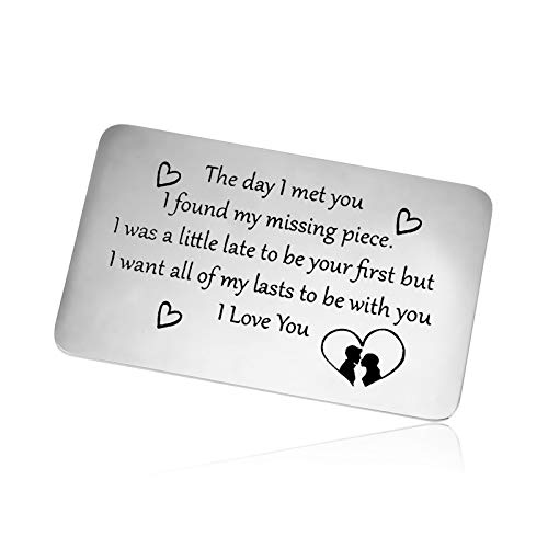 to My Man Gift Anniversary Card Gifts Metal Wallet Insert Card Gift for Girlfriend Husband Boyfriend Engraved Wallet Insert Card Valentine's Day Wedding Birthday Gift for Wife Fiance Couple Gift Card