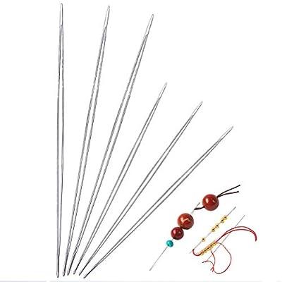 SAMAJU 6 Pieces Beading Needles, 2 Sizes Big Eye Beading Needles Easy Thread Sewing Needles