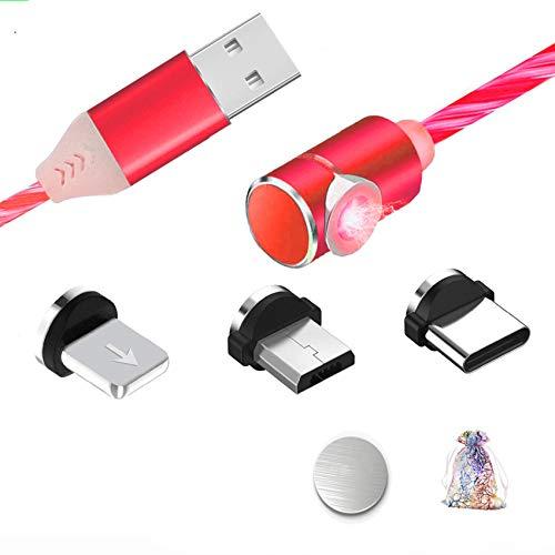 Kyerivs Magnetisches Micro USB Ladekabel Typ C mit Sichtbar Fliesender LED Multi 3 in 1 Adapter Beleuchtungs Ladekabel fur Phone Samsung Galaxy Huawei und Mehr No Sync Data