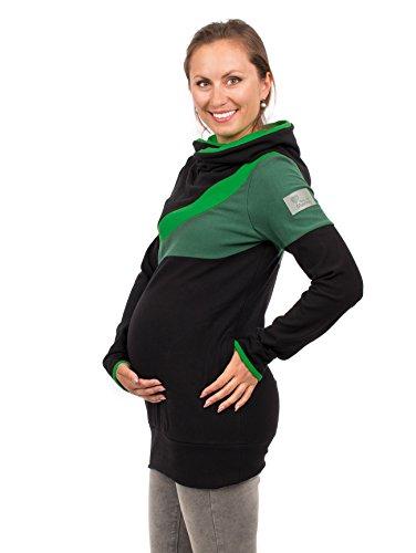 Viva la Mama Umstandskleidung Damen Winter Umstandsshirt Langarm Stillpullover Stillshirt warm Schwangerschaftsmode Baumwolle - Sonic - schwarz/grün - L