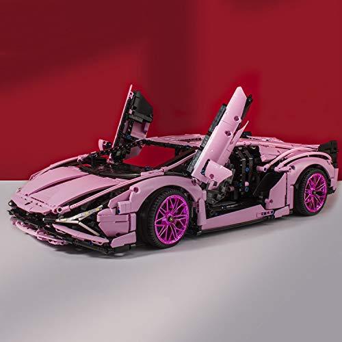 Zenghh Pink Supercar Sian Building Block 1: 8 Modelo, Vehículo Técnico 2289 Set Jigsaw 2.4G Racing Sports Wireless Auto, 60cm Fancier Construction Toy Fairy Dream Car for Hija niña Amigos
