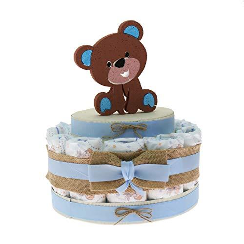 Viale Magico Idea de regalo económico para recién nacido, tarta de pañales, nacimiento o baby shower, niño (tarta de 15 pañales)