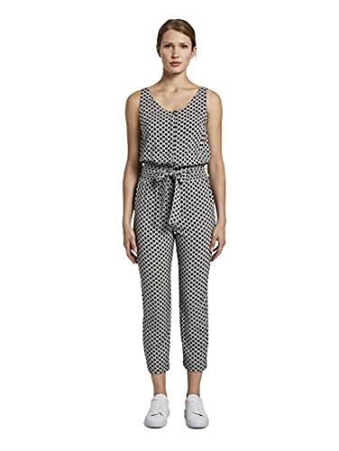 TOM TAILOR Damen Overalls & Jumpsuits Ärmelloser Jumpsuit mit elastischem Taillenbund Black Circle Design,36,22900,2999