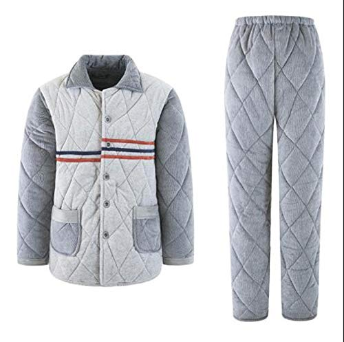 Winterdicke warme Herren Flanell Clip Baumwolle Pyjamas Set Langarm Turn-Down Kragen...