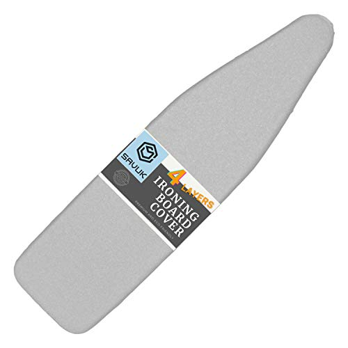 SAVUK Ironing Board Cover and Pad Silicone Coated 4 Layers 15x54 inch Extra Heavy Duty Thick Padding Heat Reflective Non Stick Scorch and Stain Resistant Elastic Edge Silver