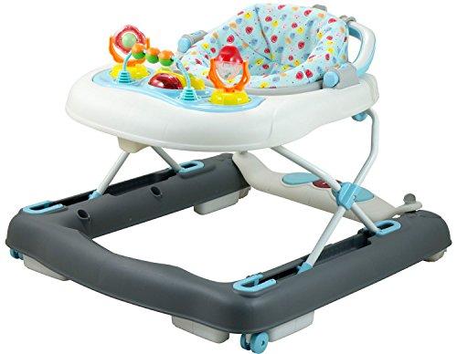 Bieco Baby Lauflernhilfe | 3in1 | Gehfrei baby ab 6 Monaten | Baby-Walker | Spielcenter mit Aktivität&Melodien | Blau/Weiß| kippsicher | höhenverstellbar | Schaukelfunktion
