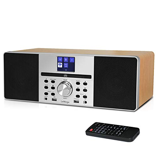 LEMEGA MSY1 All-in-One Music System with CD Player,FM Digital Radio, Bluetooth,Wooden Box,20W Stereo Sound,USB MP3,USB Phone Charging,Headphone-Out,Aux-in,Alarms&Clock,Colour Display,IR Remote- Maple