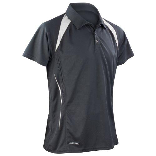 Spiro Herren Sport Polo-Shirt Team Spirit Performance (S) (Schwarz/Weiß)