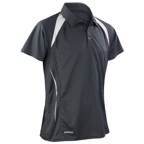 Spiro Herren Sport Polo-Shirt Team Spirit Performance (S) (Schwarz/Weiß)