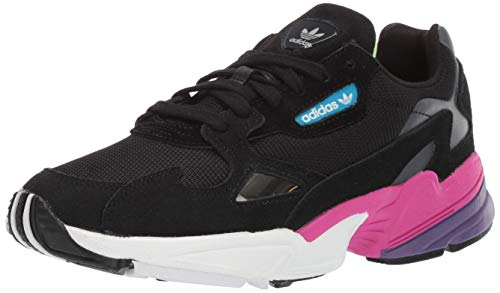 adidas Originals Women's Falcon Running Shoe, Black/Black/Shock Pink, 9 M US