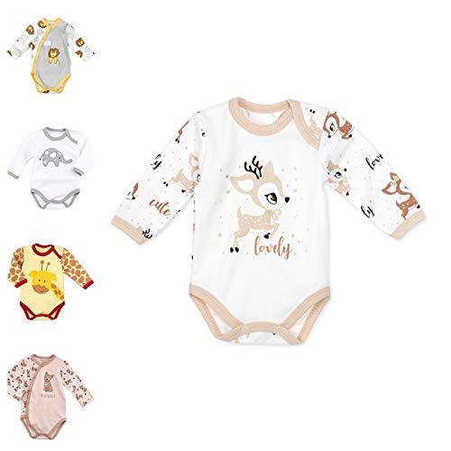 Baby Sweets Baby Langarm-Body für Jungen & Mädchen aus Baumwolle als Erstausstattung/Baby-Body im REH-Motiv in Braun Beige für Neugeborene & Kleinkinder/Babykleidung der Größe: 6 Monate (68)