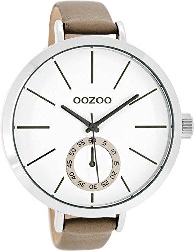 Große Oozoo XXL Damenuhr mit Lederband 48 MM Weiss/Taupe C8317