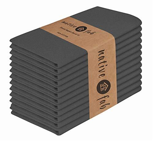 Native Fab Stoffservietten 12er-Set 100% Baumwolle 44x44 cm für Veranstaltungen und regelmäßige Heimnutzung, Weich Bequem Maschinenwaschbar Wiederverwendbare Servietten Grau