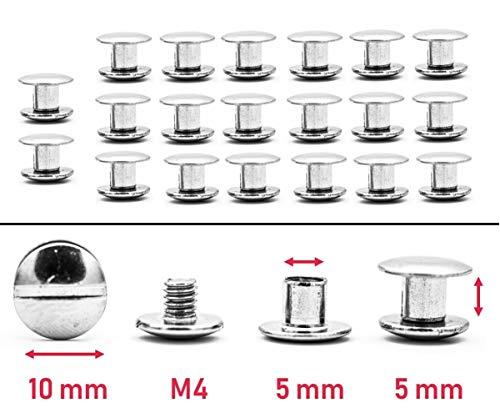 My Belt - 20 Stück Edelstahl Buchschrauben 5mm Nieten für Leder, Schraubnieten Gürtel, Gürtelnieten Set, Chicagoschrauben