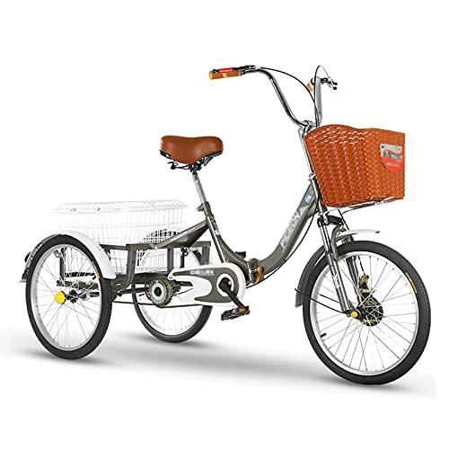 Triciclo de Adultos Triciclo Adulto Triciclo Adulto 20 Pulgadas De Tres Ruedas Bicicleta Con La Bicicleta De La Bicicleta De La Cesta De Las Compras Para El Trabajo De Las Compras De Picni(Color:grey)