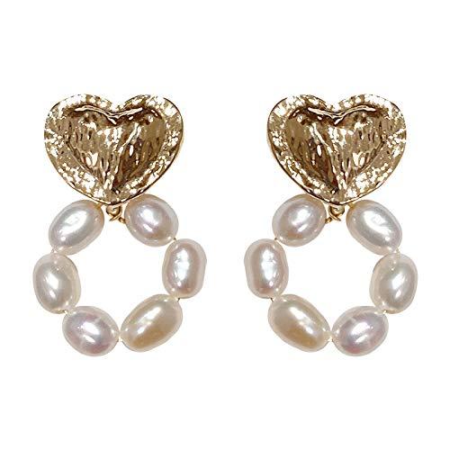 Chapado en oro real 925 pendientes de aro de perlas de aguja de plata pendientes de amor de oro pendientes simples de moda