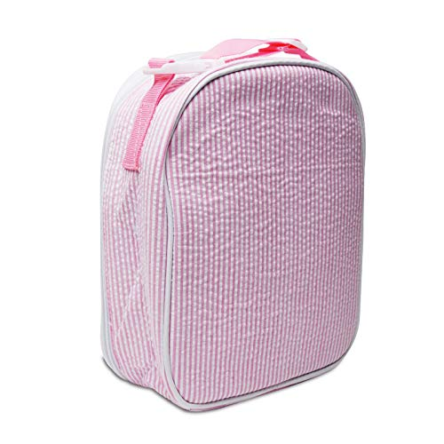 Mright Lunch Bags for Women - Portable Insulated Lunch Box,Kids Seersucker School Lunch Container (Pink)