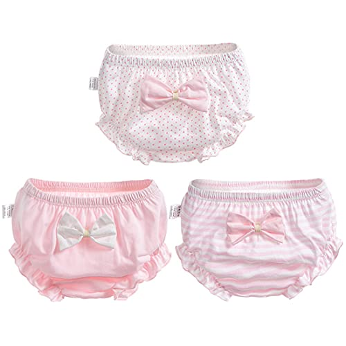 PAUBOLI Baby Girl Cotton Underwear 3 Pack Ruffles Diaper Covers with Bowknot 0-4T (Pink, 6-12 Months)