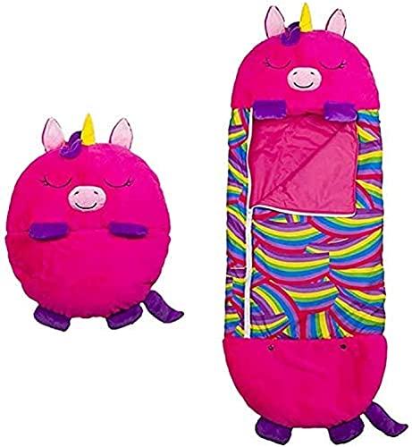 Eeayyygch MoreJieka - Cuscino per bambini e sacco a pelo, pieghevole, morbido, 2 in 1, sacco a pelo divertente per bambini da 3 a 6 anni (colore rosa)