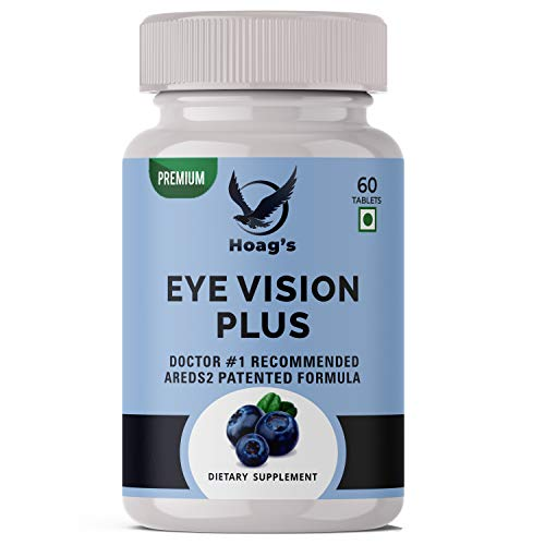 Hoag's EYE Vision Plus Complete Eye Care Solution With AREDS 2 Patented Formula    Lutein, Zeaxanthin, Bilberry, Vitamin C, E, Copper And Zinc Supplement - 60 Veg Tablets