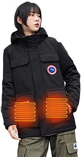 HHY Hombres, Chaqueta Térmica para Hombres con Batería, 3 Áreas De Temperatura 3 Calentadas, Impermeable Lavable con Cortavientos para Motociclismo,Negro,M
