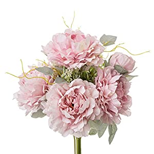 Yongyue Springs Flowers Artificial Silk Peony Bouquets Wedding Home Decoration,Pack of 1 (Spring Deep Pink)