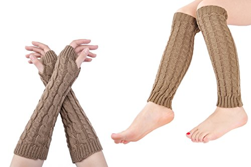 Anlaey Cable Knit Leg Warmers Arm Warmers Set Knitted Crochet Boot Socks for Women