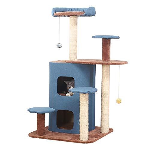 HTGL Arbol Gato áRbol para Gatos con Rascador De Sisal, Torre para Gatos con Nido, Multi Nivel Centro De Actividad para Gatitos con Juguetes Colgantes, Muebles para Gatos