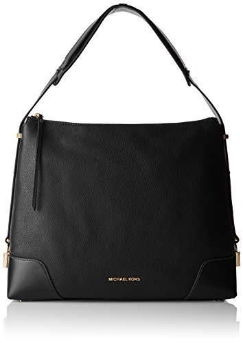 """Black Pebbled Leather with smooth panels and goldtone hardware Handle drop 6 3/4"""", adjustable shoulder strap 21 1/2"""" - 23 1/2"""" Interior details: Back zip pocket, back slip pocket, 4 front slip pockets Lining: 100% polyester, zippered fastening, Measu..."""