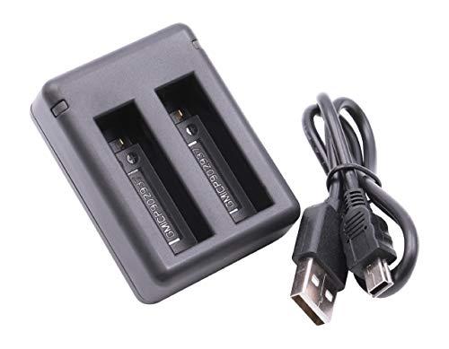 vhbw Micro USB Dual Ladegerät Ladekabel passend für Akkus der Kamera Garmin Virb Ultra 30, HD Action Cam