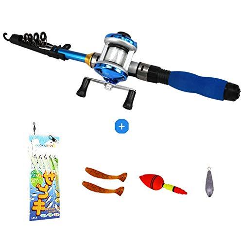 JLZK Aficiones Portátil de Pesca 1M Varilla telescópica caña de Pescar Duro Lanzar Invierno Ultra Ligero Hielo de Rod Set Spinning Carrete del Bastidor de Engranaje Profesión (Color : C)