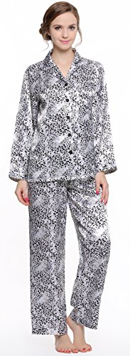 Lavenderi - Set pigiama da donna in raso a maniche lunghe - - Small
