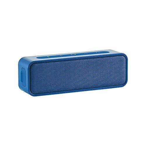 Amazon Basics - Altavoz estéreo bluetooth de 9 vatios con diseño resistente al agua, Azul