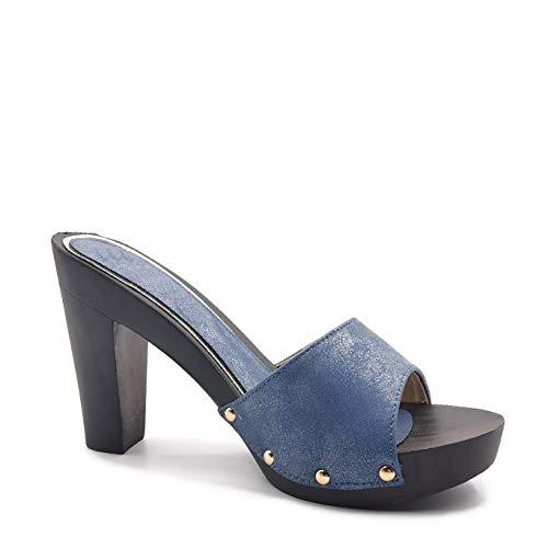 Angkorly - Damen Schuhe Holzschuhe Schuh-Mule - Sabot - High Heel - BCBG - Nieten-Besetzt - glänzendes Leder - Holzeffekt Blockabsatz high Heel 10 cm - Blau TX-114 T 38
