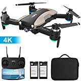 GPS Drone with 4K Camera 5G WiFi FPV RC Quadcopter for Adults Auto Return Home Function Follow Me with Portable Carry Case 2 Batteries Foldable Drones for Beginners