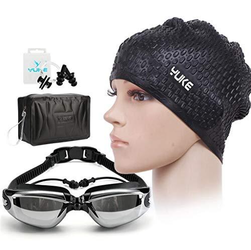 4 in1 Unisex Swimming Set Anti-fog zwembril met verstelbare siliconen band plus gratis oordopjes, neusklem, badmuts en waterdichte opbergtas