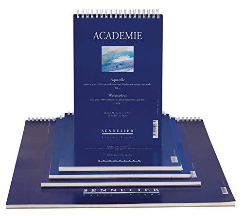 Bloc Acedemie Sennelier-Papel Acuarela-12 hojas-300g-cold press, 100% celulosa- libre de ácido. (16x24)