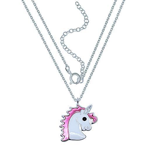 Katy Craig, collar de unicornio rosa de plata de ley