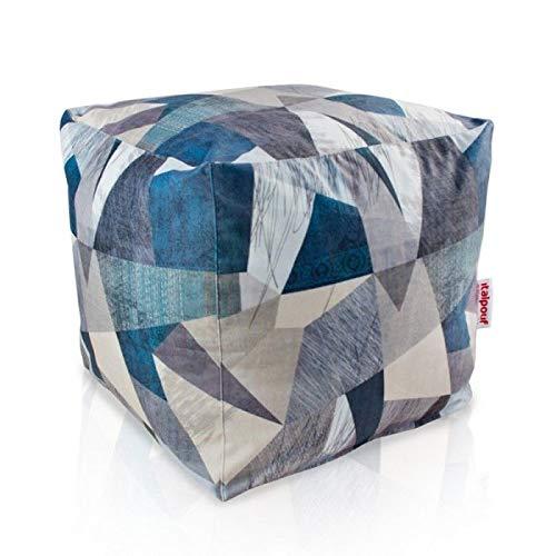 Italpouf Pouf Grande Cubo 50x50x50 cm! Puf 26 Diverse Fantasie! Puff Sfoderabile! Pouf Tessuto Morbido! Poggiapiedi Imbottito! (Astratto)