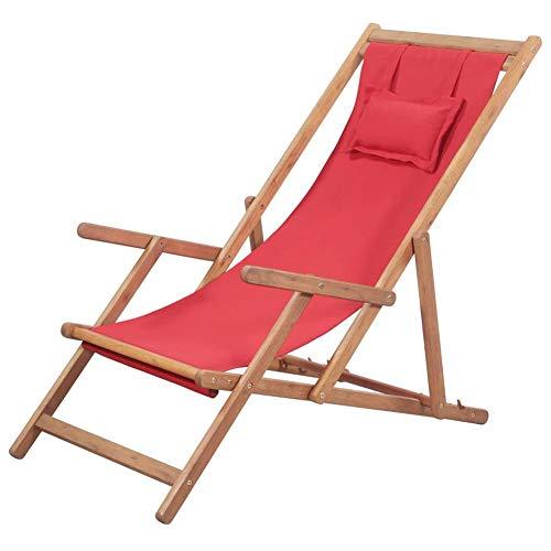 Wakects Tumbona de jardín de madera plegable, tumbona de relax, silla de playa con 3 posiciones ajustables, silla de playa de tela y marco de madera de eucalipto, color rojo