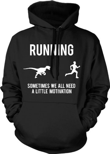 Crazy Dog Tshirts - Running Motivation Sweater Funny T Shirt Sarcasm Humor Run Novelty Hoodie (Black) - L - Homme