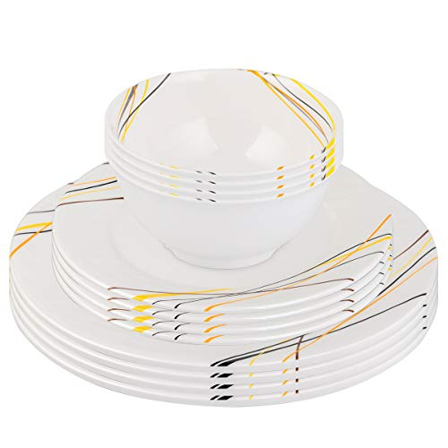Cainfy Dinnerware Set for 4, Plates and Bowls Sets for 12,Coloured Ribon Dessert Dish Sets, Unbreakable Melamine Kitchen and Camping dish set