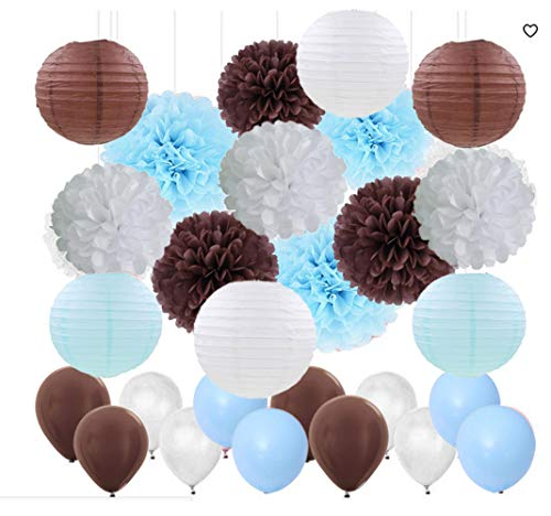 45 pcs Teddy Bear Theme Baby Shower Decorations White Brown Blue Tissue Paper Pom Poms Paper Lanterns Balloon Teddy Bear Theme Birthday Party Decorations