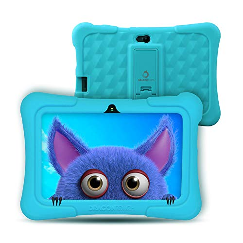 Dragon Touch Tablet para Niños con WiFi Bluetooth 7 Pulgadas 1024x600 Tablet Infantil de Android 9.0 Quad Core 2GB 16GB Doble Cámara Kid-Proof Funda Tablet Niños Educativo Y88X Pro Azul