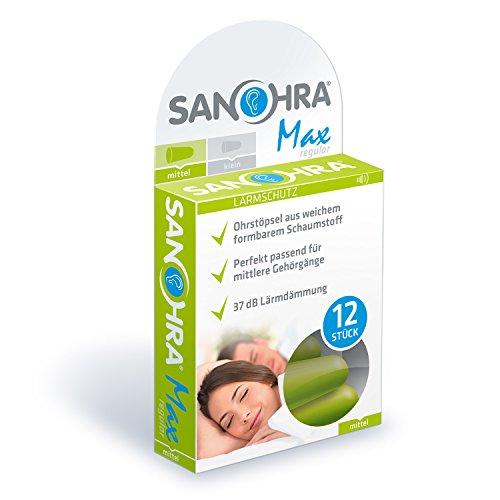 SANOHRA max – 12 Soft Ohrstöpsel für Erwachsene - zum besseren Schlafen, gegen Lärm durch Schnarchen und erleichtert das konzentrierte Arbeiten durch starke 37 dB SNR Lärmdämmung