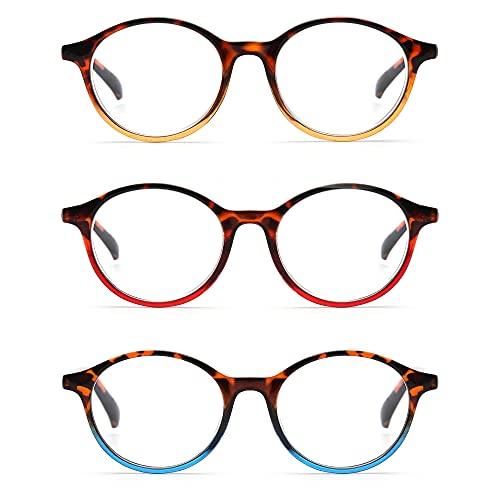 Gafas de Lectura, 3pcs / Set, Vintage Lectura de vidrios for Hombres y Mujeres Gafas de bisagra de Primavera Redonda for Lector, TELEVISOR, Computadora (Color : +2.5, Size : 3pcs)
